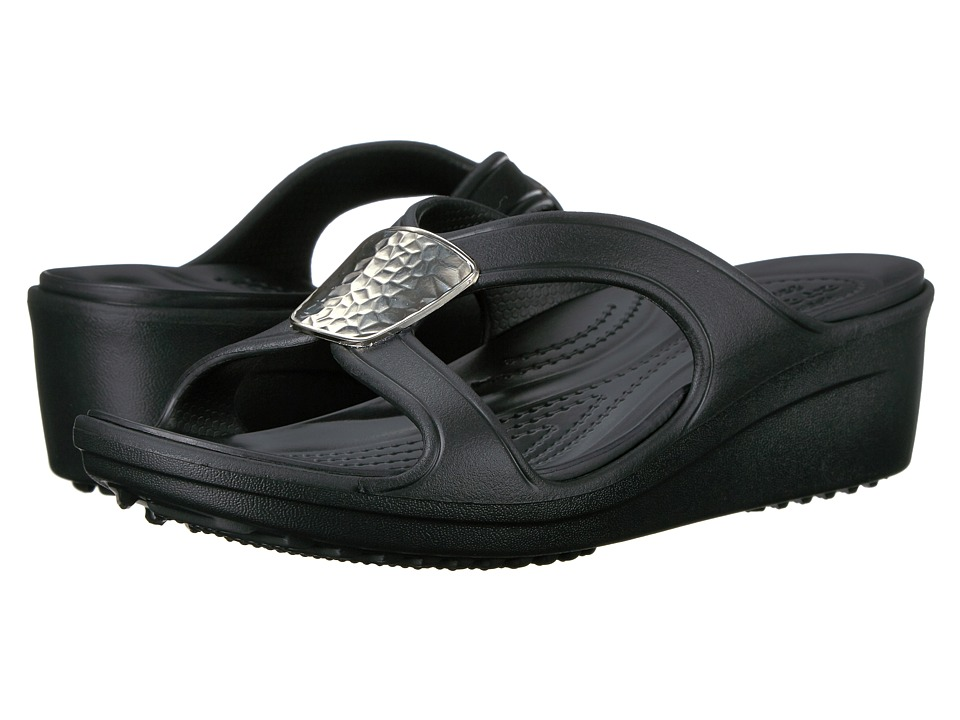 Crocs - Sanrah Embellished Wedge (Black/Silver Metallic) Women's Wedge Shoes