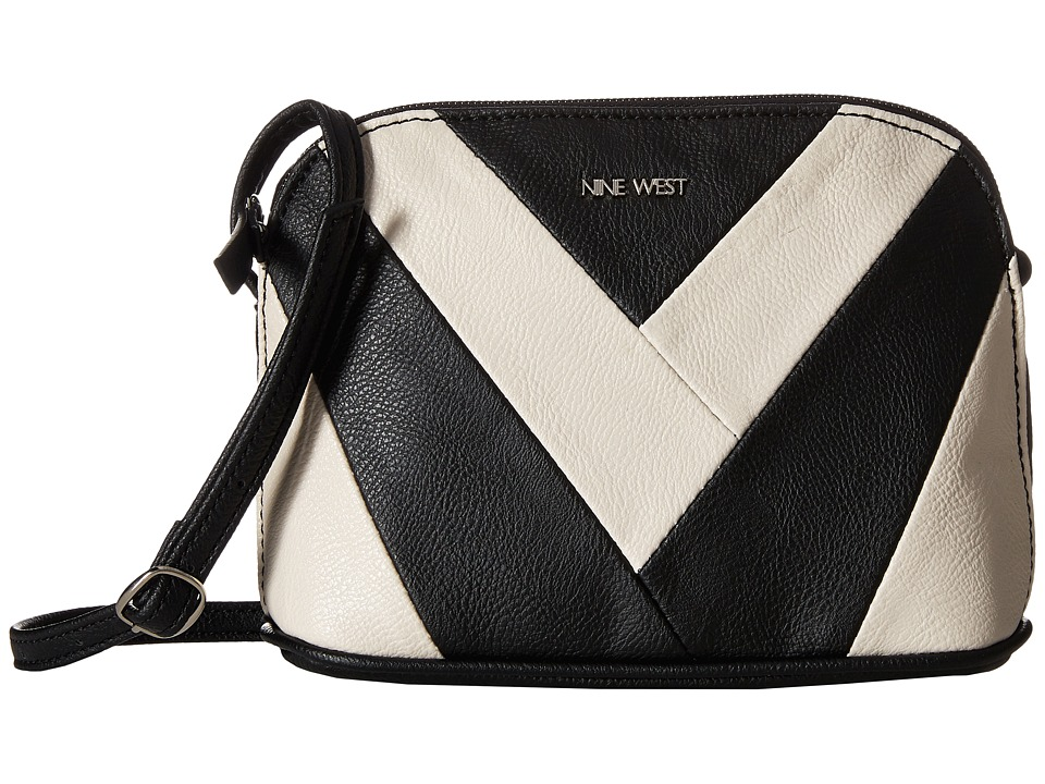 Nine West - Vee Deep Crossbody (Black/Milk) Cross Body Handbags