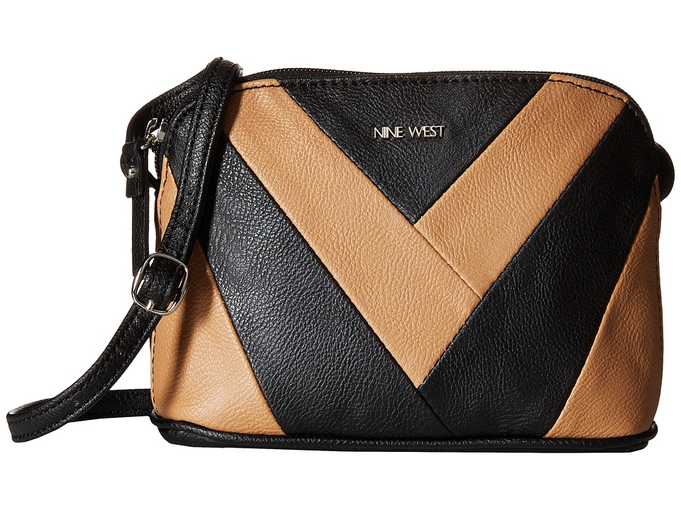 Nine West - Vee Deep Crossbody (Black/Dark Camel) Cross Body Handbags