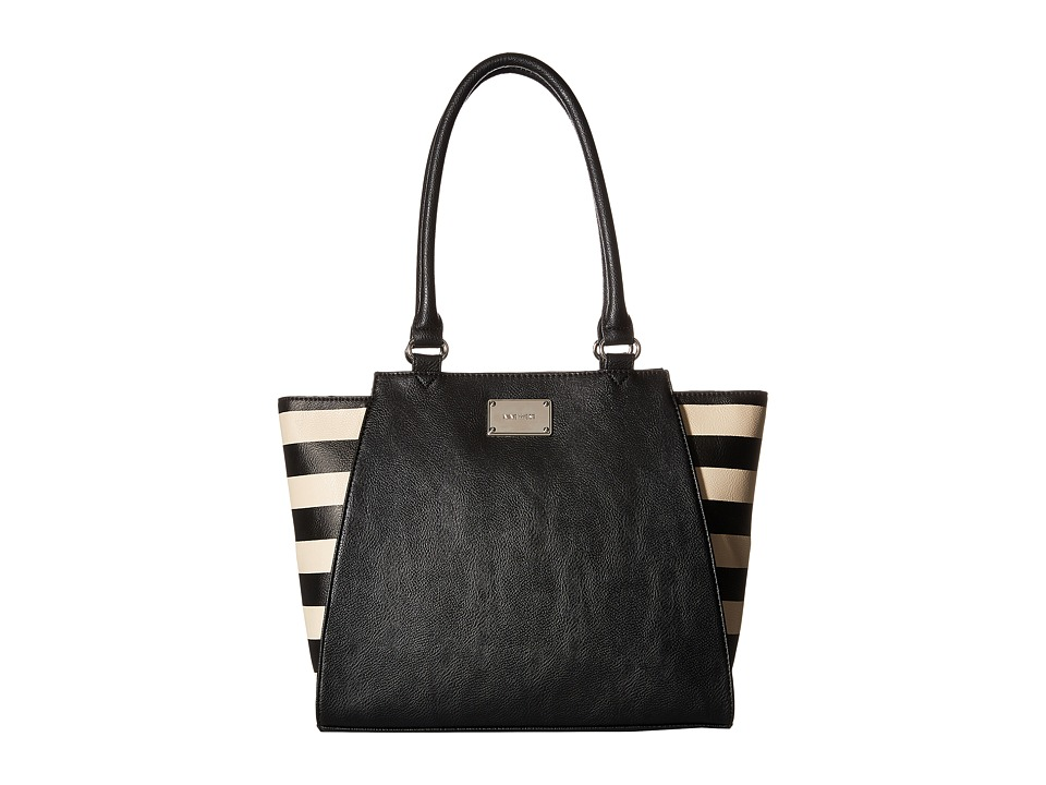 Nine West - Side Striped Satchel (Black) Satchel Handbags
