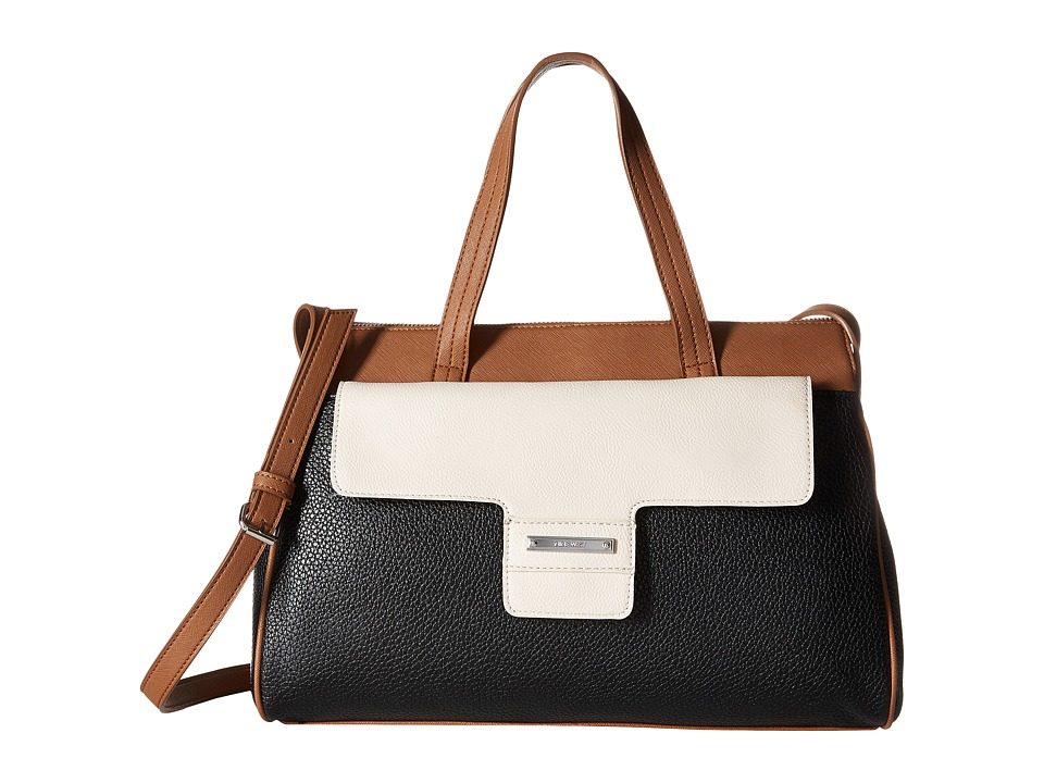 Nine West - Out Of Pocket Satchel (Black/Milk/Tobacco) Satchel Handbags