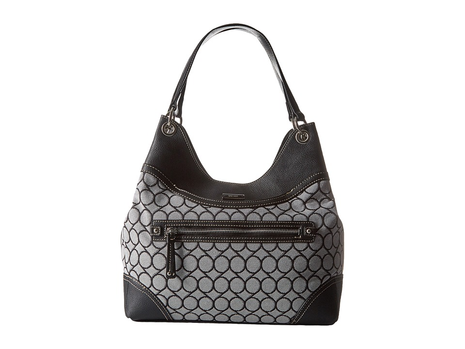 Nine West - 9S Jacquard Shoulder Bag (Black/White) Shoulder Handbags