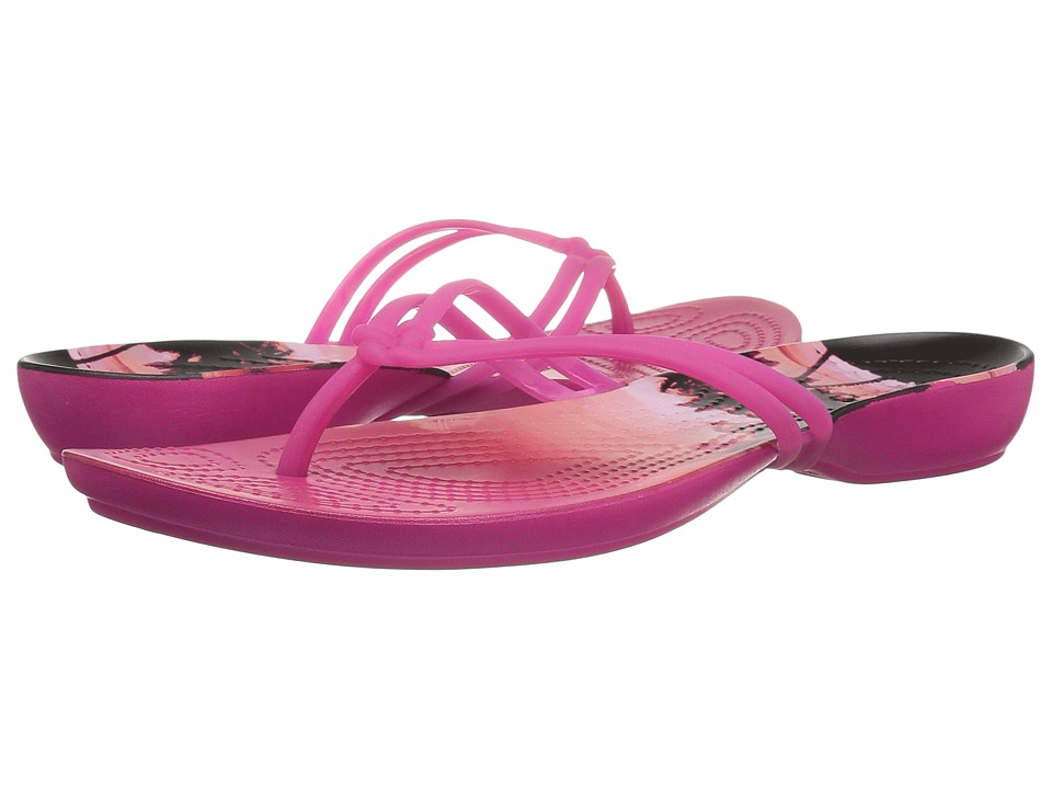 Crocs - Isabella Graphic Flip (Candy Pink/Tropical) Women's Sandals