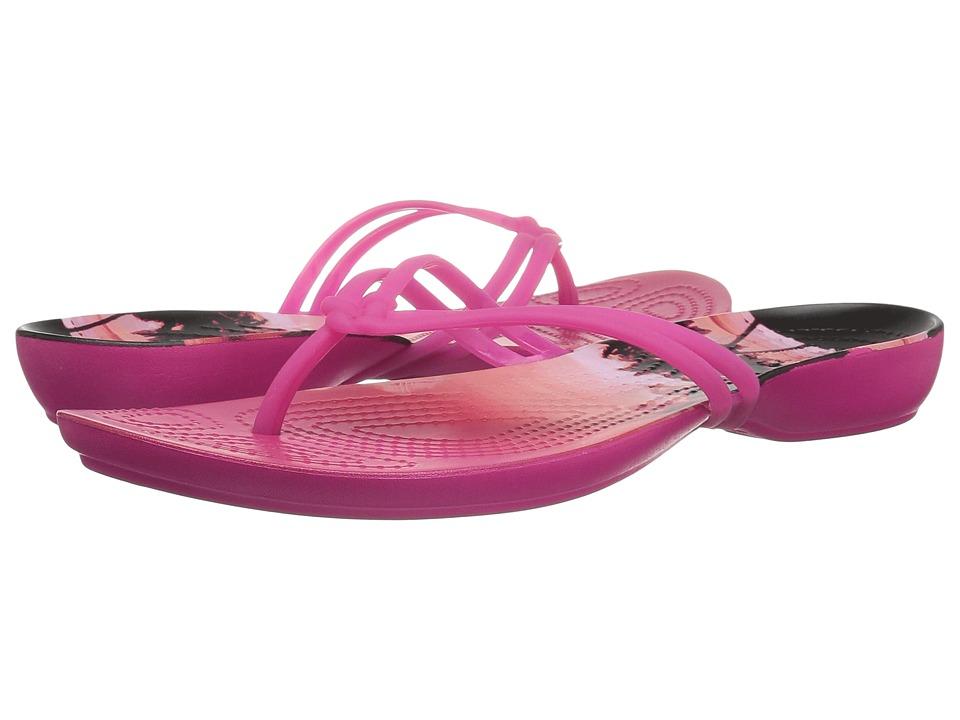 Crocs Isabella Graphic Flip (Candy Pink/Tropical) Women