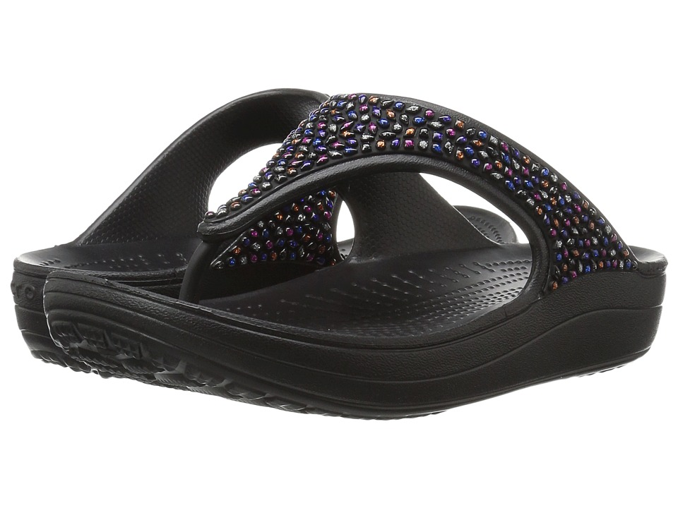 Crocs - Sloane Embellished Flip (Black/Multi) Women's Sandals