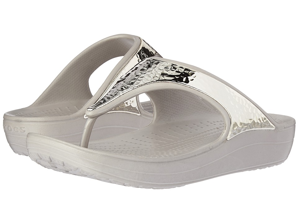 Crocs - Sloane Embellished Flip (Platinum/Platinum) Women's Sandals