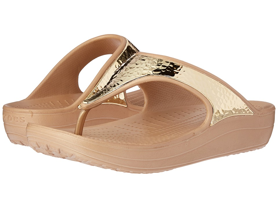 Crocs - Sloane Embellished Flip (Gold Metallic) Women's Sandals
