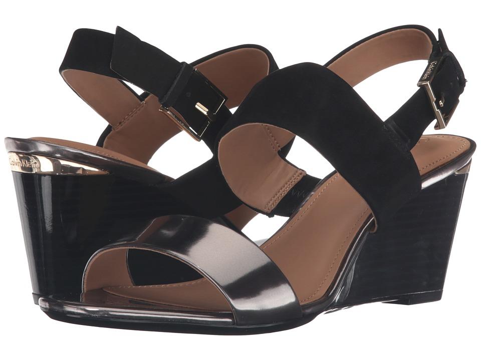 Calvin Klein - Peony (Anthracite/Black Metallic Leather/Nubuck) Women