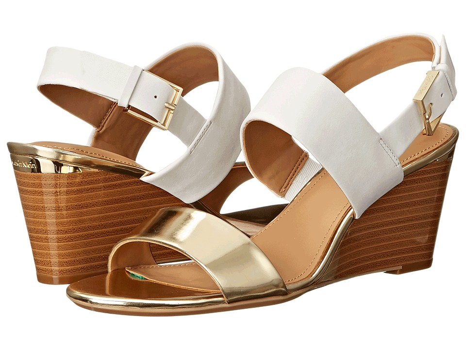 Calvin Klein - Peony (Warm Gold/Soft White Metallic Leather/Nubuck) Women's Shoes