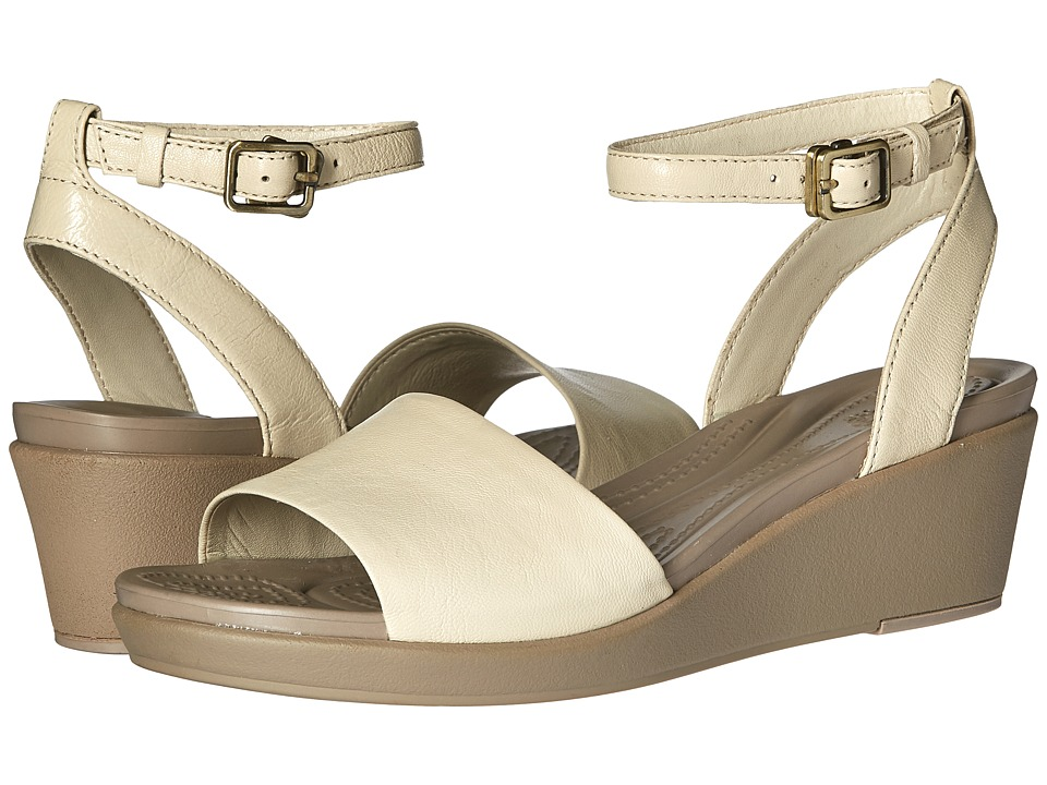 Crocs - Leigh-Ann Ankle Strap Leather (Stucco) Women's Wedge Shoes