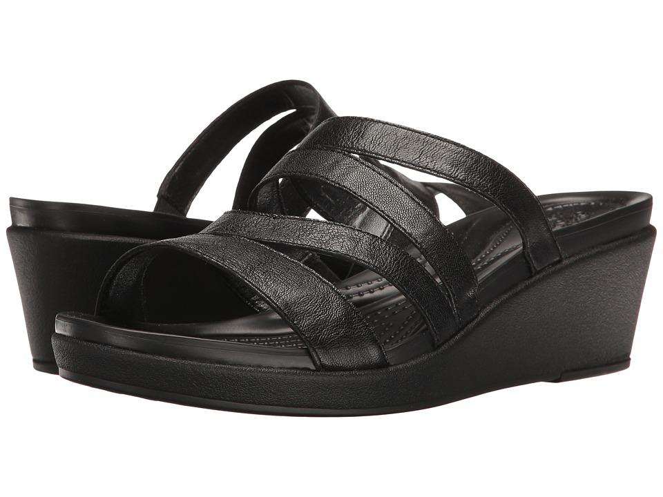 Crocs - Leigh-Ann Mini Wedge Leather (Black) Women's Wedge Shoes