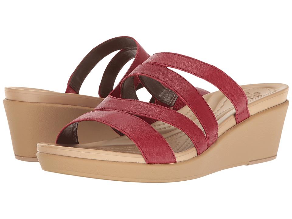 Crocs - Leigh-Ann Mini Wedge Leather (Pepper) Women's Wedge Shoes