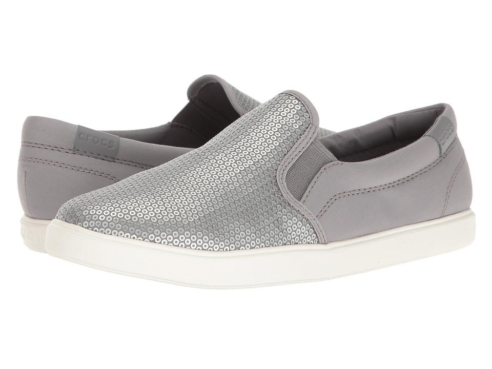 Crocs - CitiLane Sequin Slip-On (Silver) Women's Slip on Shoes
