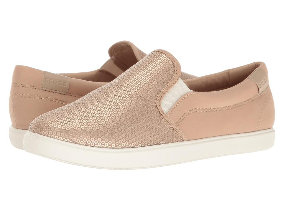 Crocs - CitiLane Sequin Slip-On (Gold) Women's Slip on Shoes