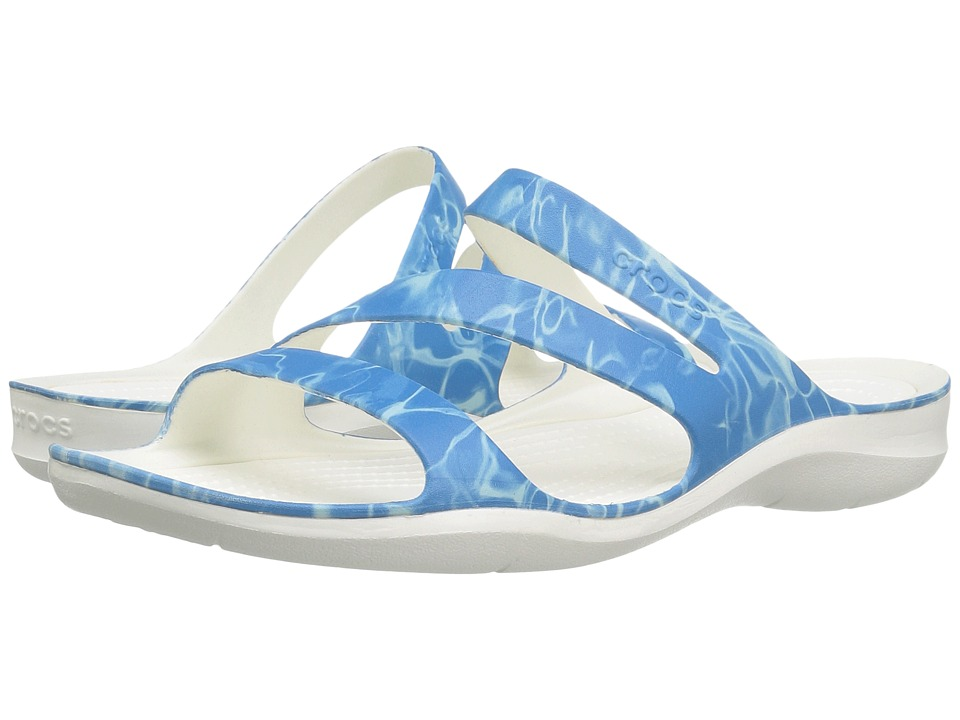 Crocs - Swiftwater Graphic Sandal (Water/White) Women's Sandals