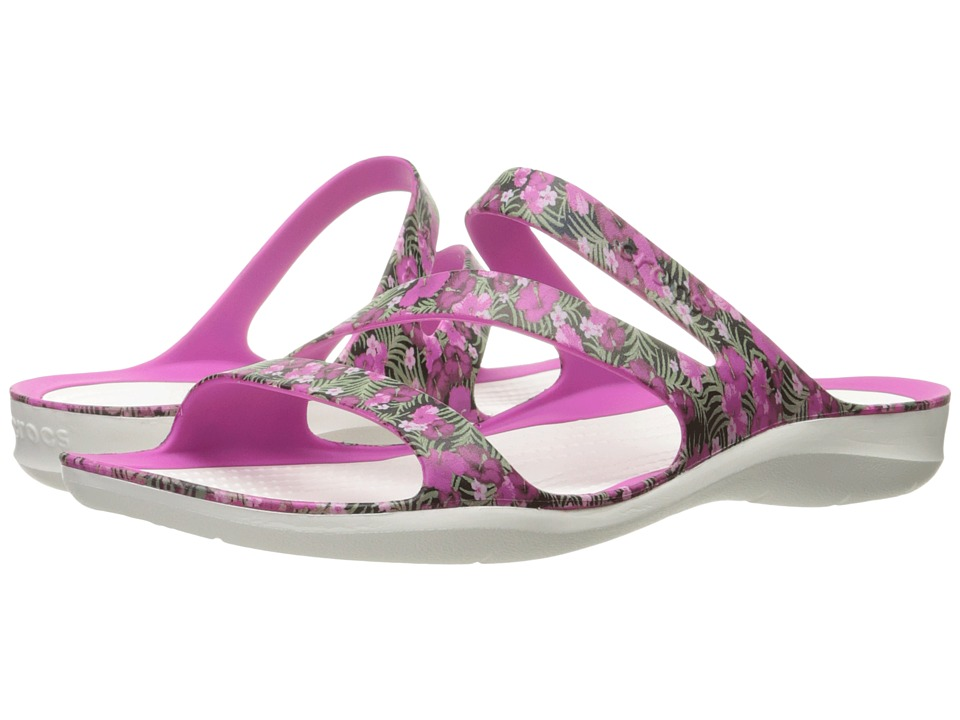 Crocs - Swiftwater Graphic Sandal (Pink/Floral) Women's Sandals