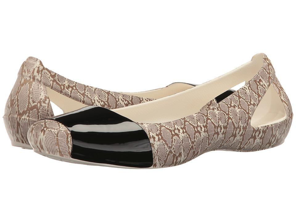 Crocs - Sienna Shiny Animal Print (Snake) Women's Flat Shoes