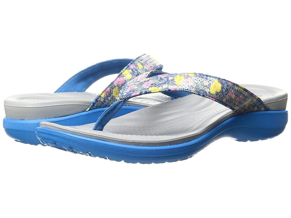 Crocs - Capri V Graphic Sequin Flip (Ocean) Women's Sandals