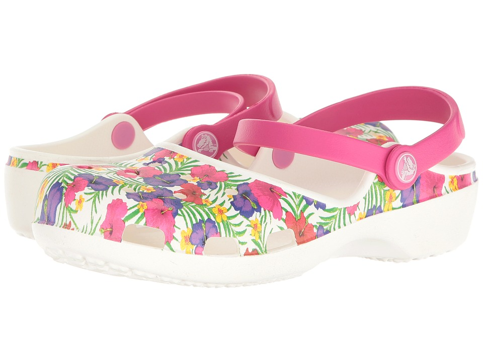 Crocs - Karin Graphic Clog (White/Floral) Women's Clog/Mule Shoes