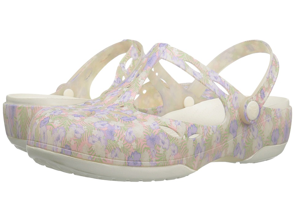 Crocs - Carlie Graphic Cut Out (Light Pink/Floral) Women's Clog/Mule Shoes