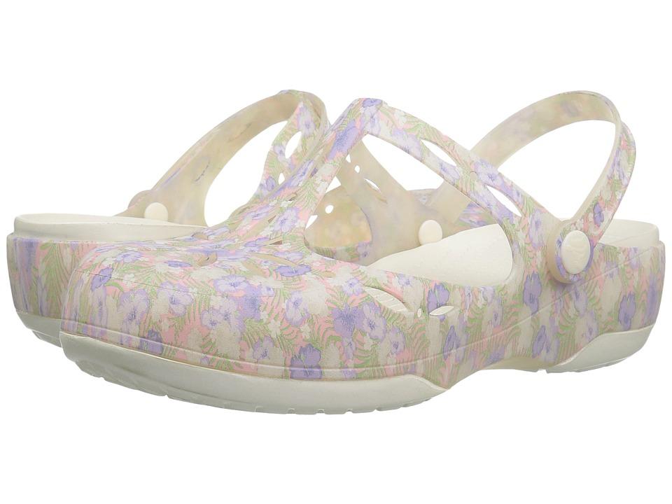 Crocs - Carlie Graphic Cut Out (Light Pink/Floral) Women's Clog/Mule Shoes