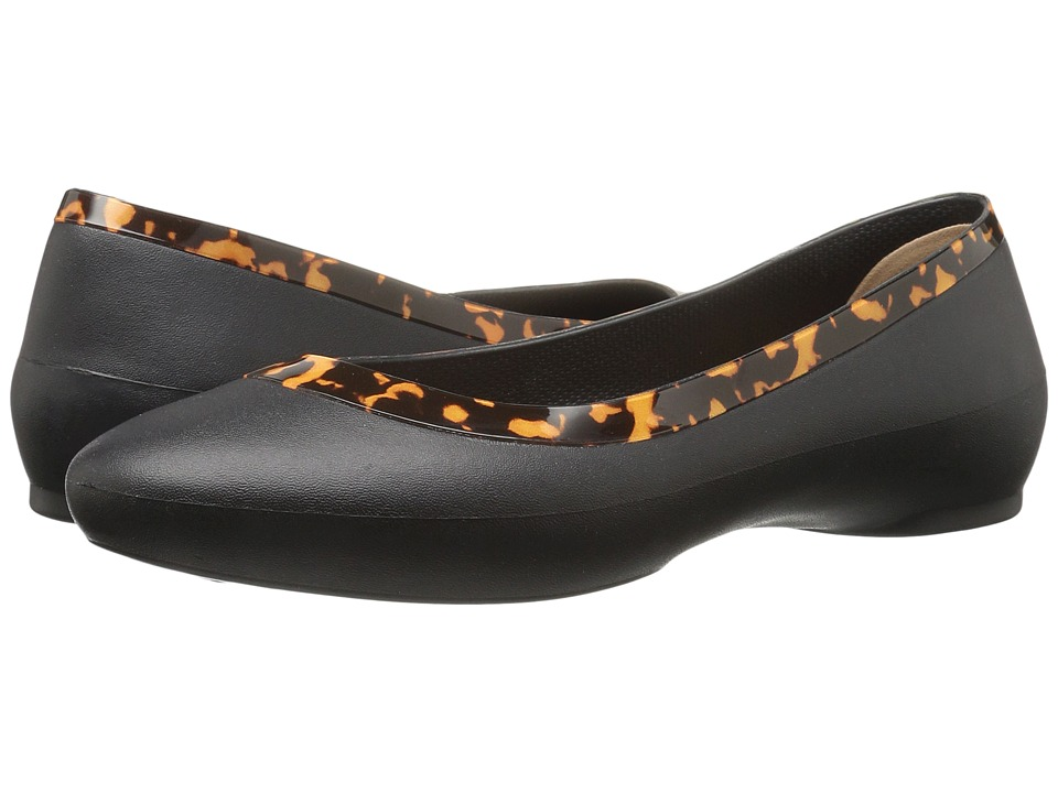 Crocs - Lina Embellished Collar (Black/Tortoise) Women's Flat Shoes