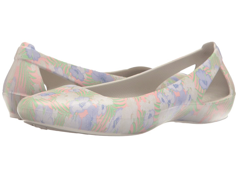 Crocs - Sienna Graphic Flat (Light Pink/Floral) Women's Flat Shoes