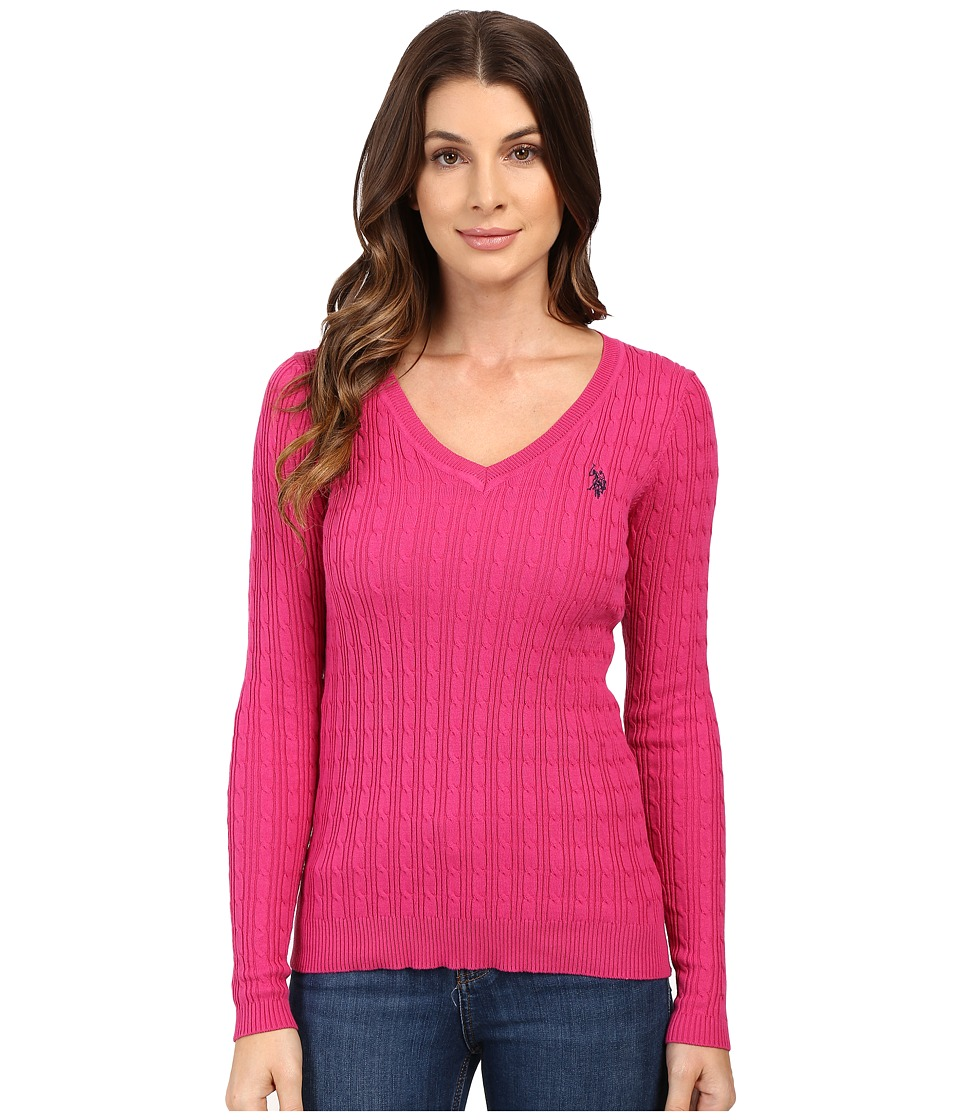 U.S. POLO ASSN. - Solid Cable Knit V-Neck Pullover (Very Berry Combo) Women's Clothing