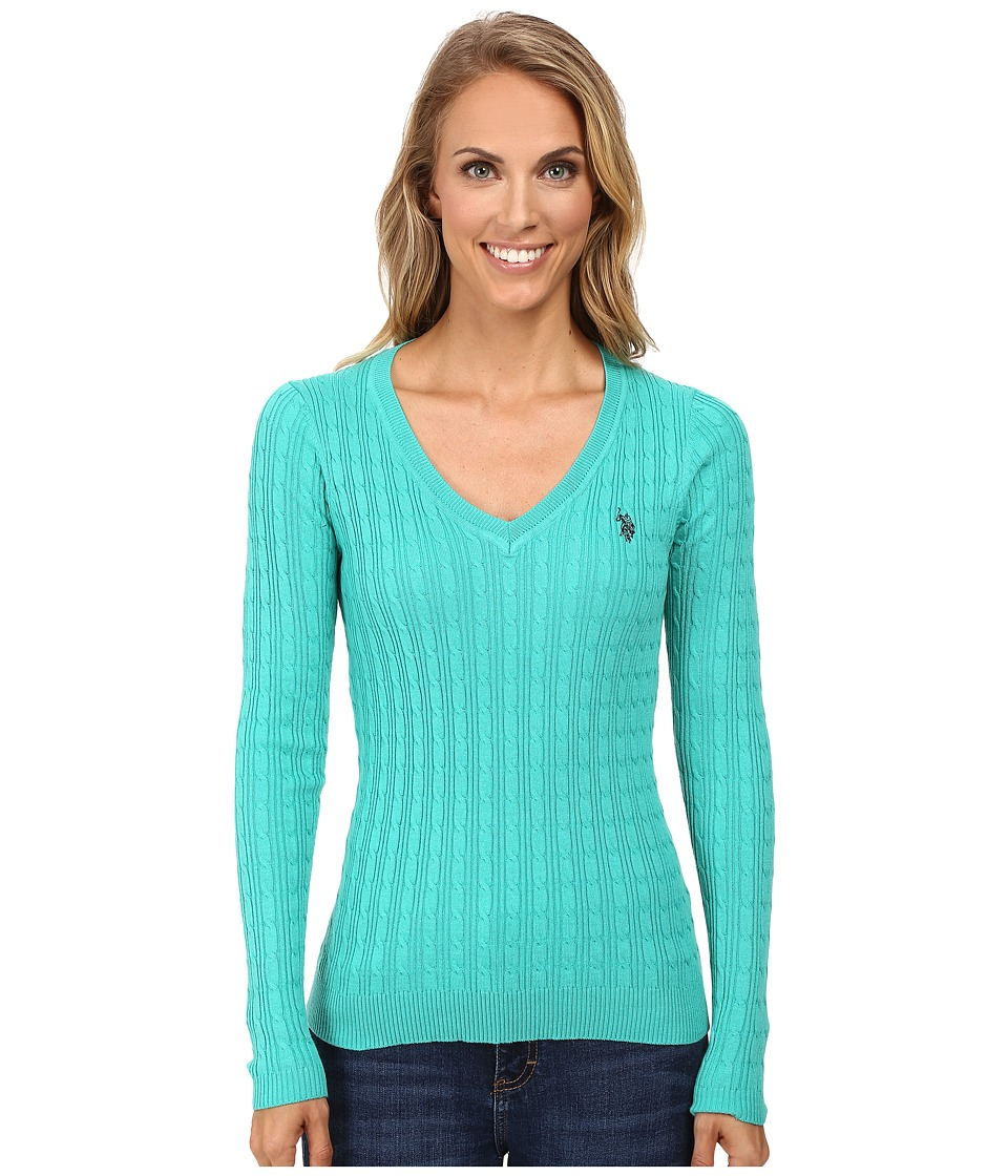 U.S. POLO ASSN. - Solid Cable Knit V-Neck Pullover (Peacock Green Combo) Women's Clothing