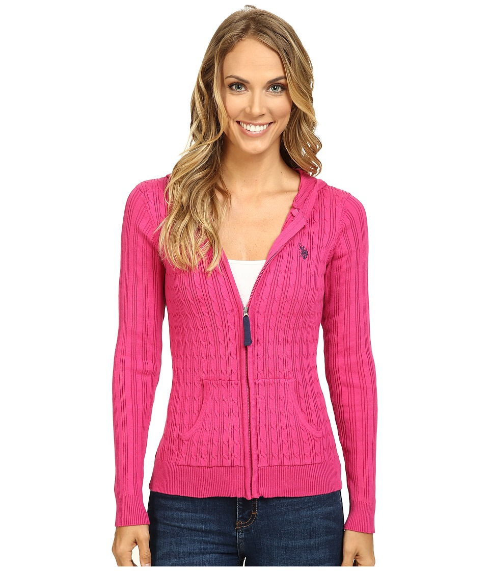 U.S. POLO ASSN. - Cable Knit Zip Front Hooded Cardigan (Very Berry Combo) Women's Sweater