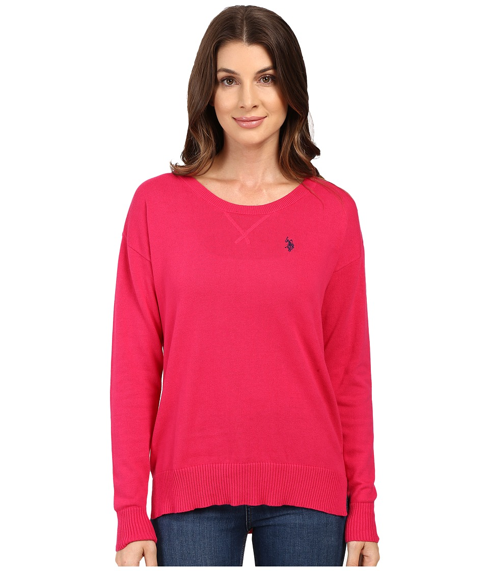 U.S. POLO ASSN. - Hi-Lo Hem Pullover Sweater (Bright Rose Combo) Women's Sweater
