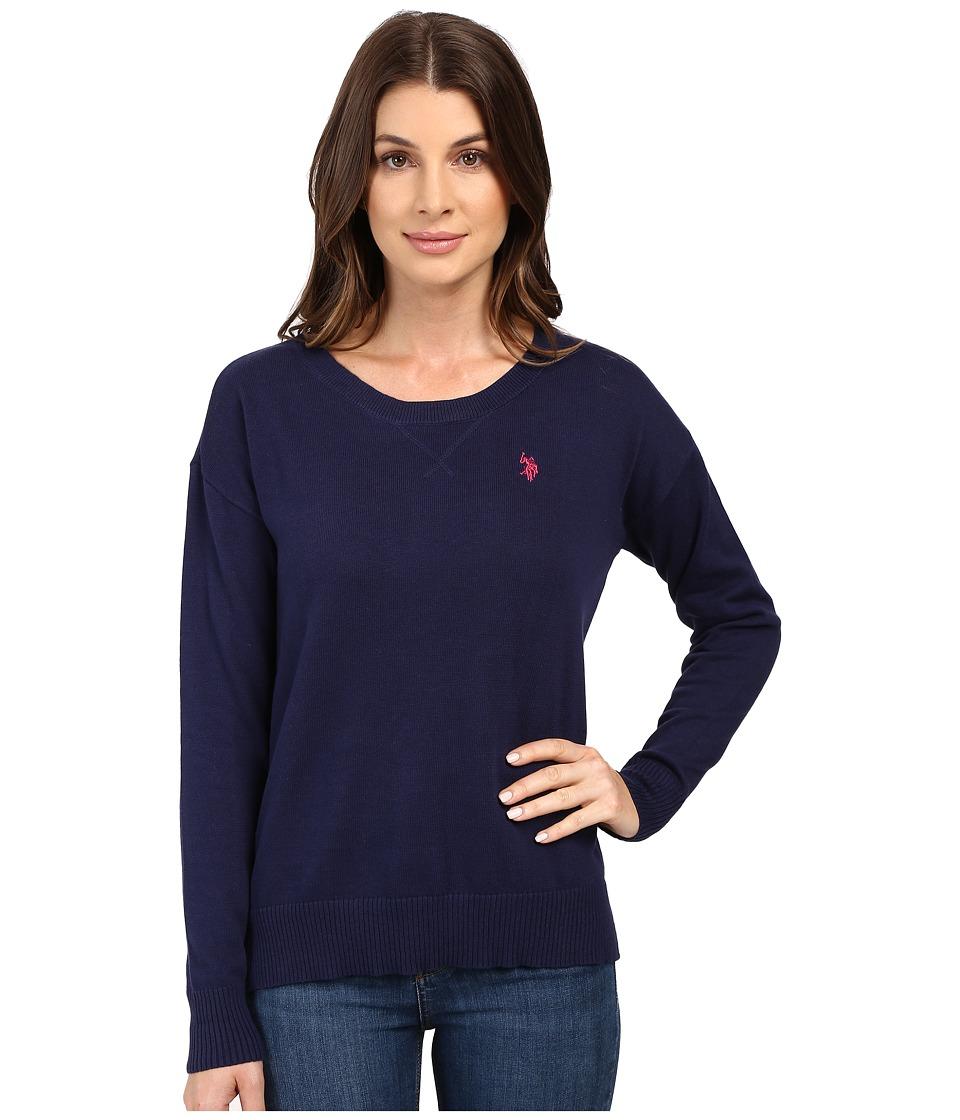U.S. POLO ASSN. - Hi-Lo Hem Pullover Sweater (Tribal Navy Combo) Women's Sweater