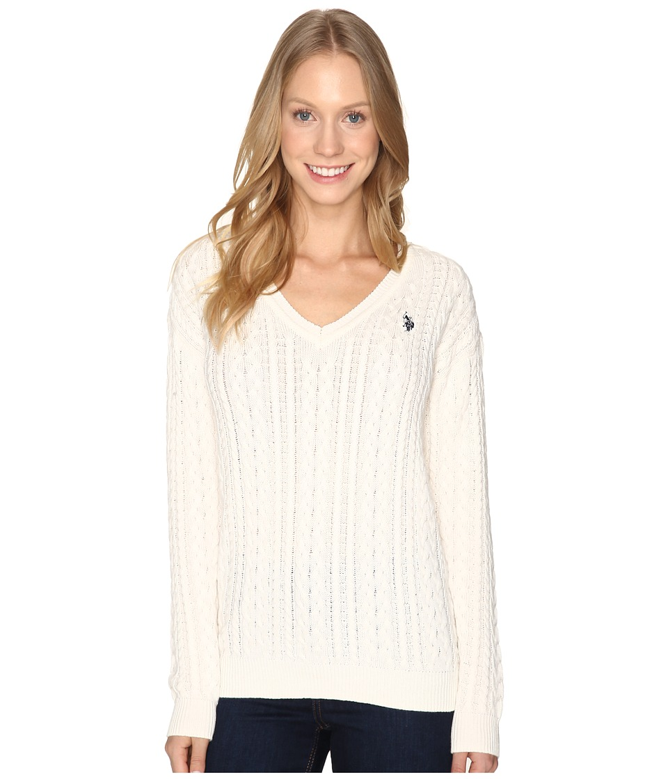 U.S. POLO ASSN. - Solid V-Neck Cable Knit Sweater (Marshmallow Combo) Women's Sweater