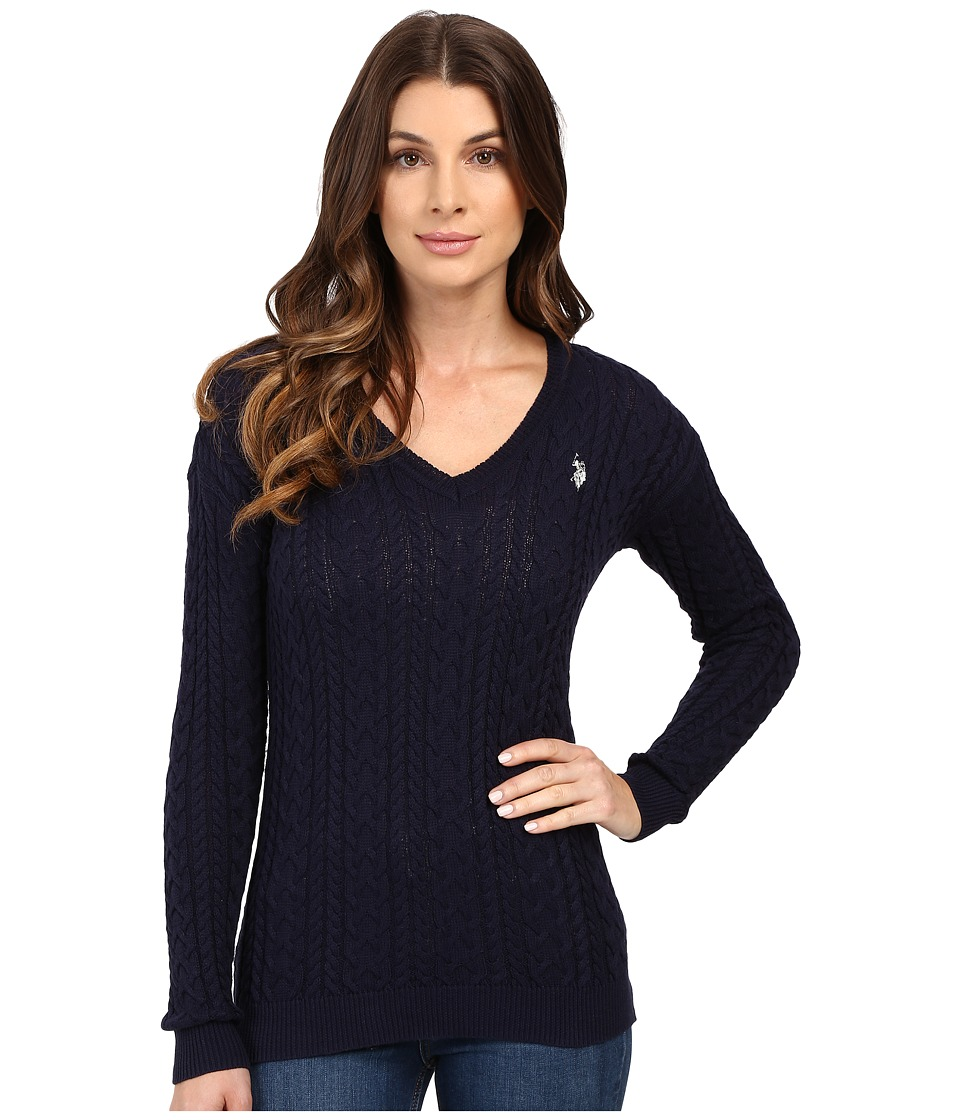 U.S. POLO ASSN. - Solid V-Neck Cable Knit Sweater (Evening Blue Combo) Women's Sweater