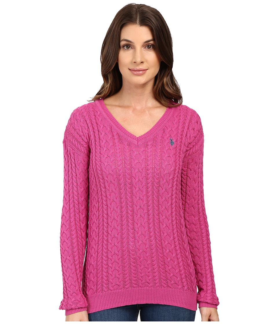 U.S. POLO ASSN. - Solid V-Neck Cable Knit Sweater (Rose Violet Combo) Women's Sweater