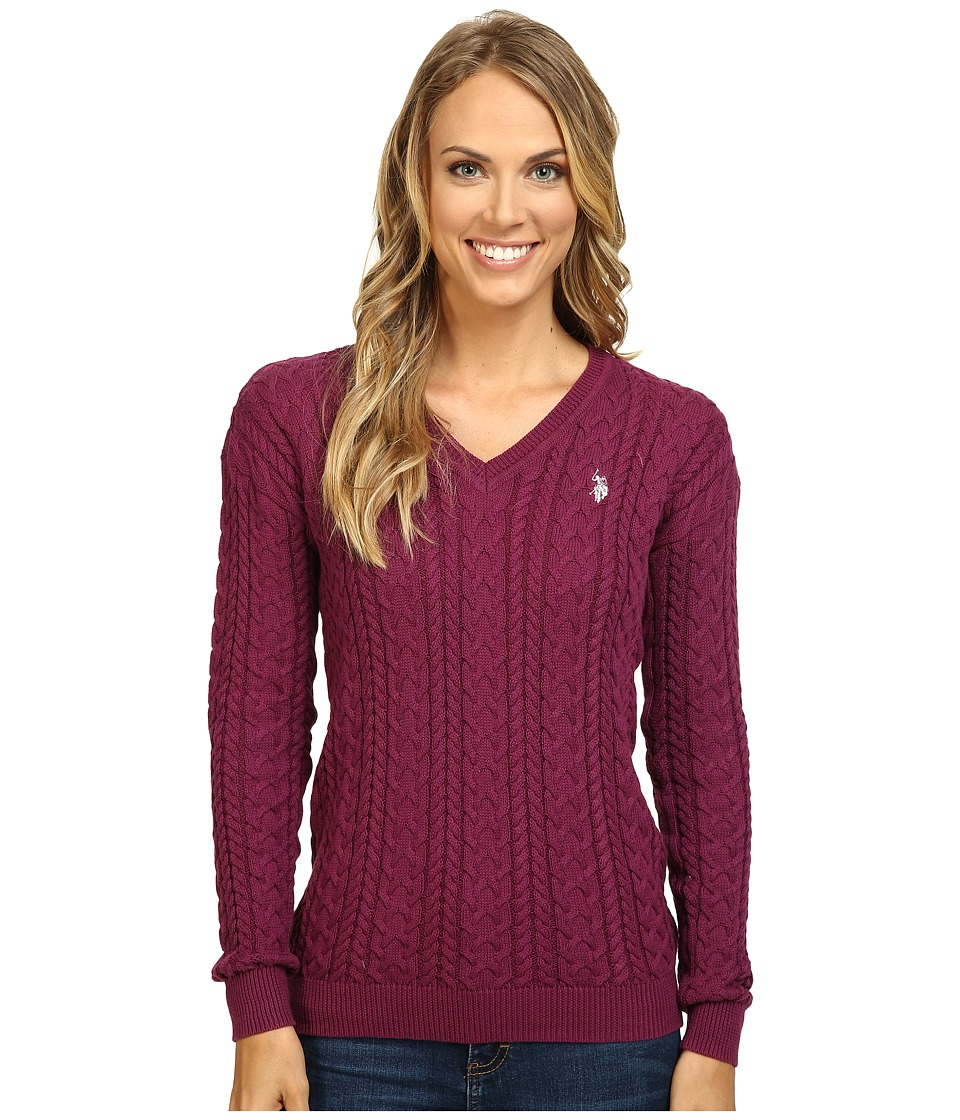 U.S. POLO ASSN. - Solid V-Neck Cable Knit Sweater (Merlot Combo) Women's Sweater