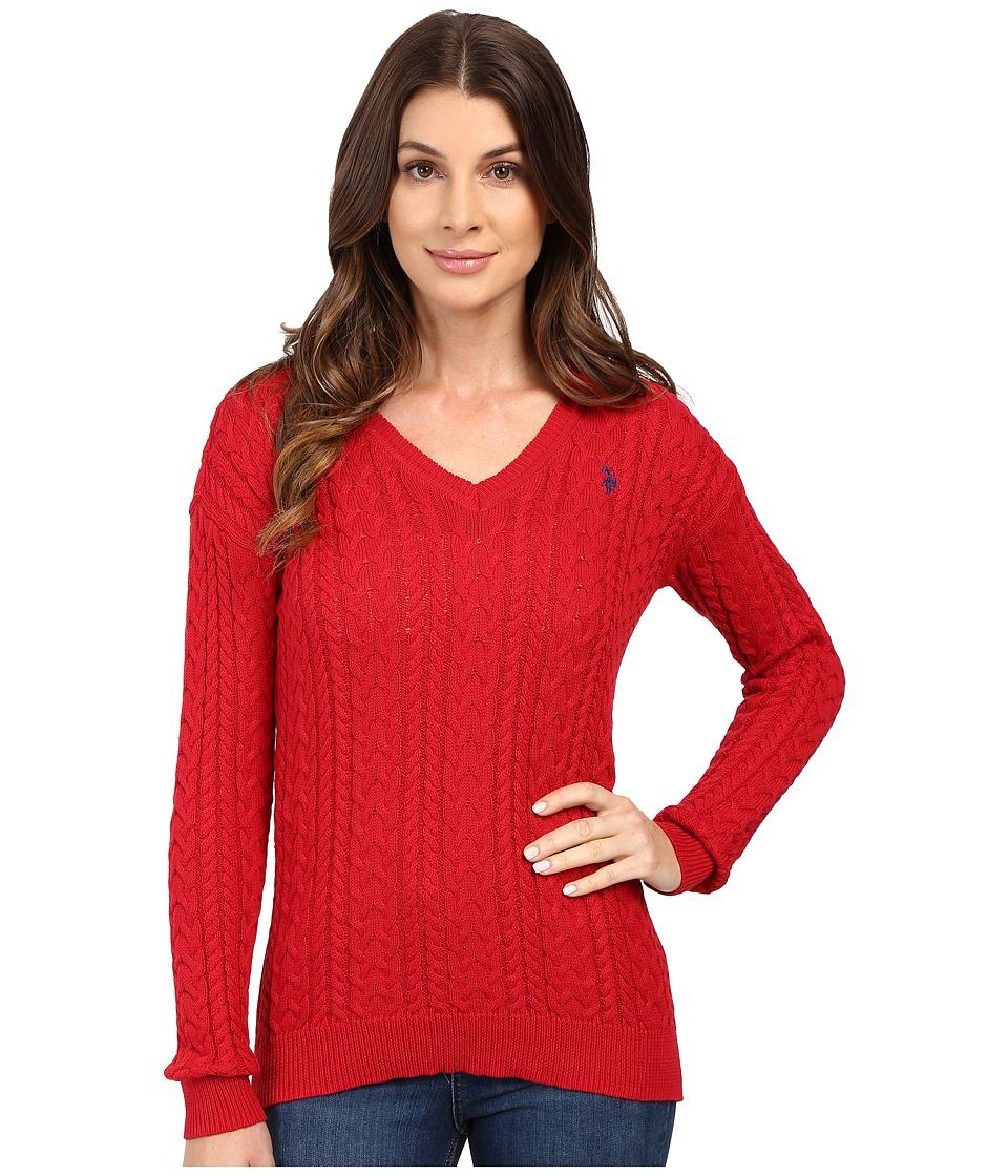 U.S. POLO ASSN. - Solid V-Neck Cable Knit Sweater (Crimson Combo) Women's Sweater