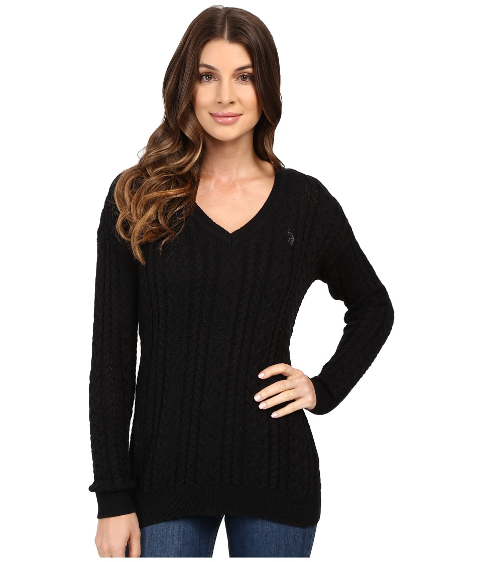 U.S. POLO ASSN. - Solid V-Neck Cable Knit Sweater (Anthracite Combo) Women