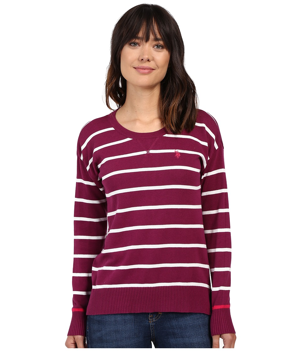 U.S. POLO ASSN. - Hi-Lo Hem Striped Pullover Sweater (Merlot Combo) Women's Sweater
