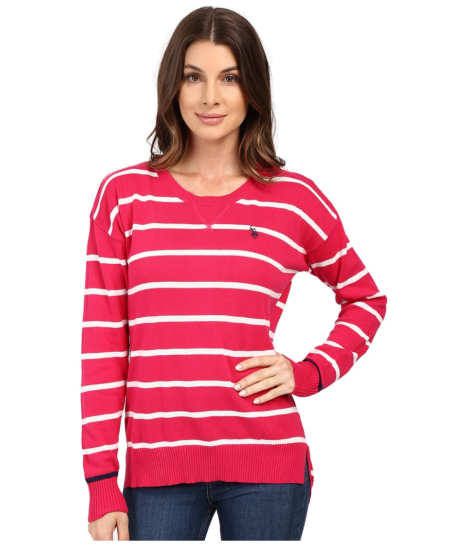 U.S. POLO ASSN. - Hi-Lo Hem Striped Pullover Sweater (Bright Rose Combo) Women's Sweater