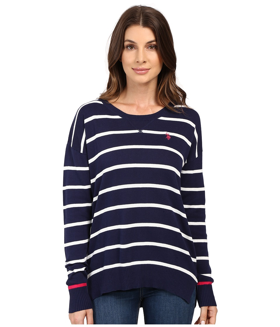 U.S. POLO ASSN. - Hi-Lo Hem Striped Pullover Sweater (Tribal Navy Combo) Women's Sweater