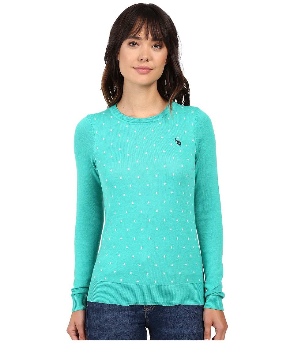 U.S. POLO ASSN. - Polka Dot Crew Neck Sweater (Peacock Green Combo) Women's Sweater
