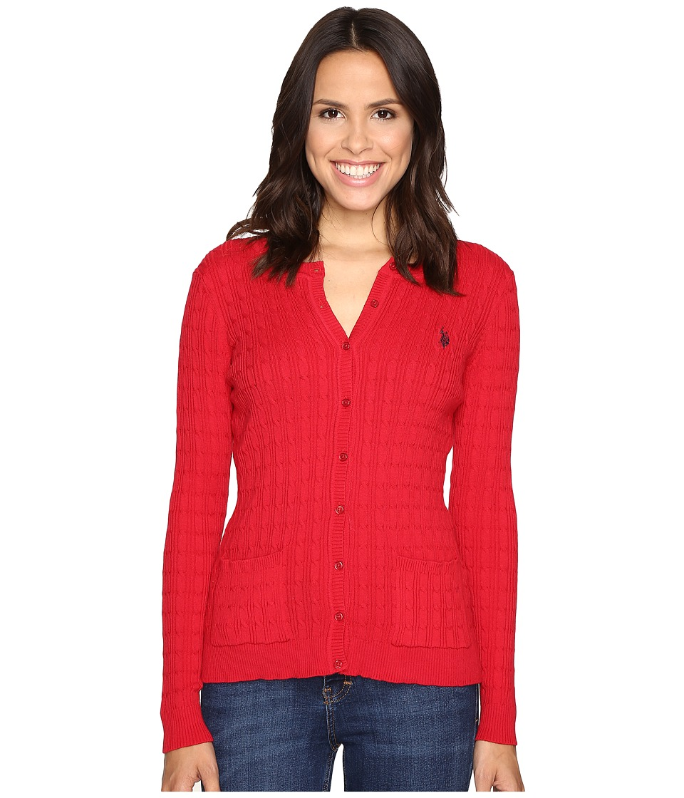 U.S. POLO ASSN. - Solid Cable Knit Cardigan (Crimson Combo) Women's Sweater