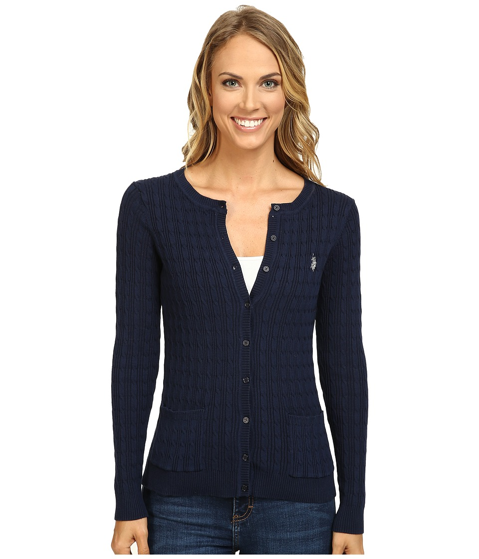 U.S. POLO ASSN. - Solid Cable Knit Cardigan (Evening Blue Combo) Women's Sweater