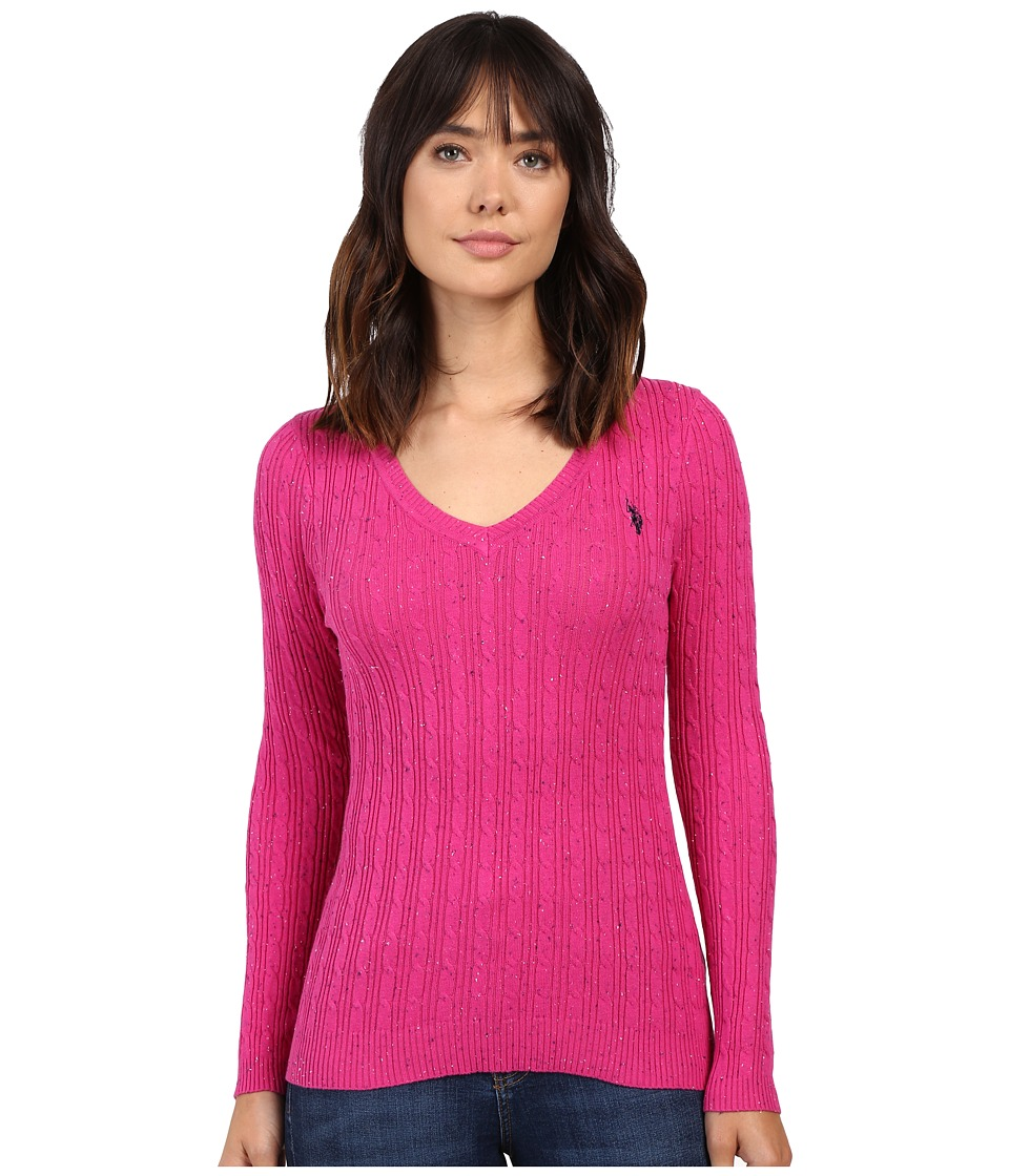 U.S. POLO ASSN. - Donegal Cable V-Neck Sweater (Very Berry Combo) Women's Sweater