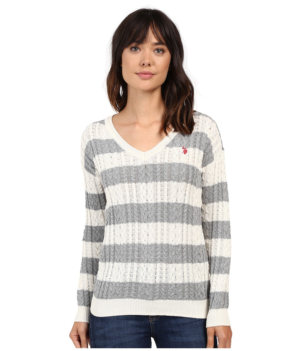 U.S. POLO ASSN. - 7 Gage Stripe V-Neck Cable Knit Sweater (Marshmallow Combo) Women's Sweater