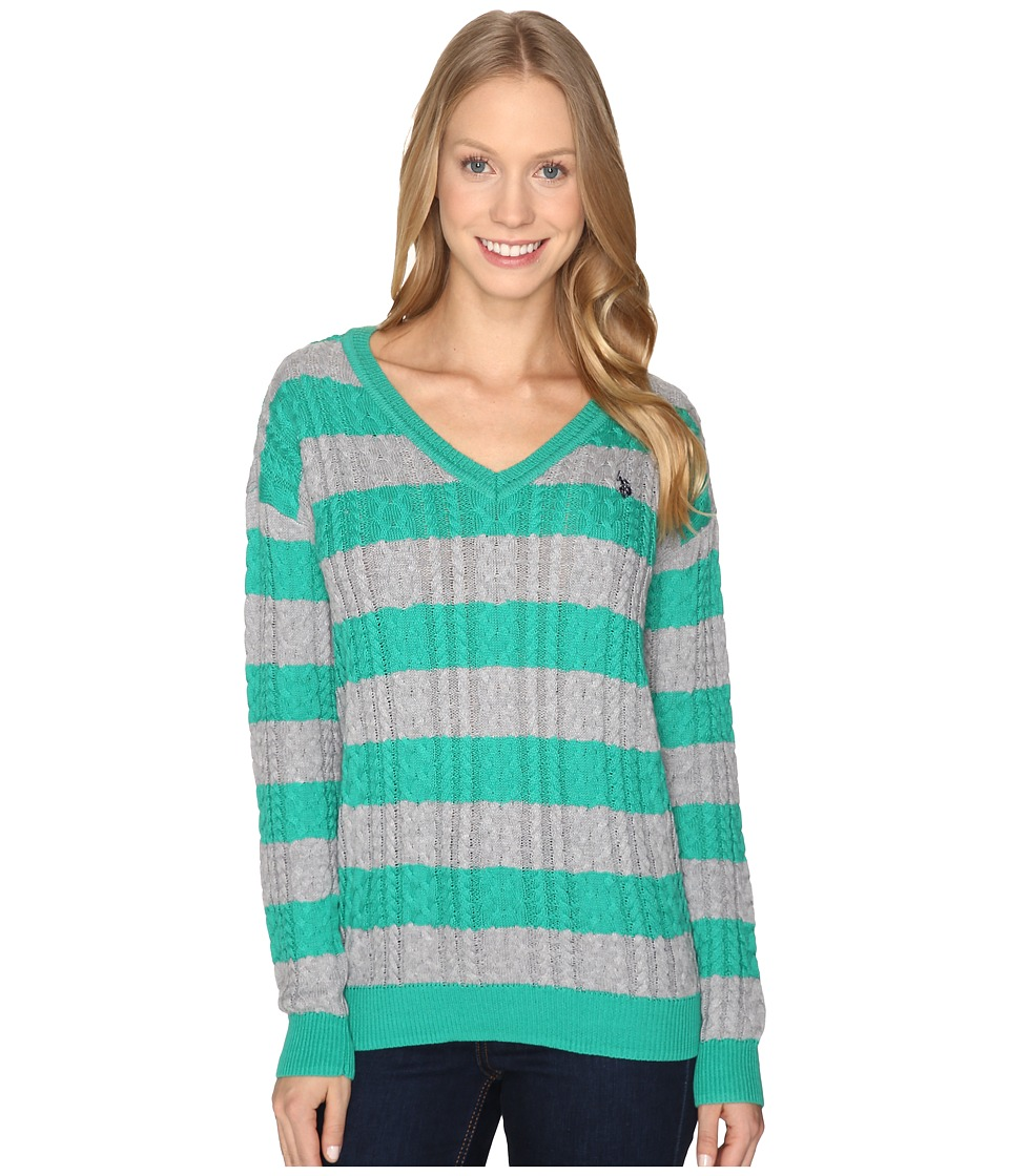 U.S. POLO ASSN. - 7 Gage Stripe V-Neck Cable Knit Sweater (Peacock Green Combo) Women's Sweater