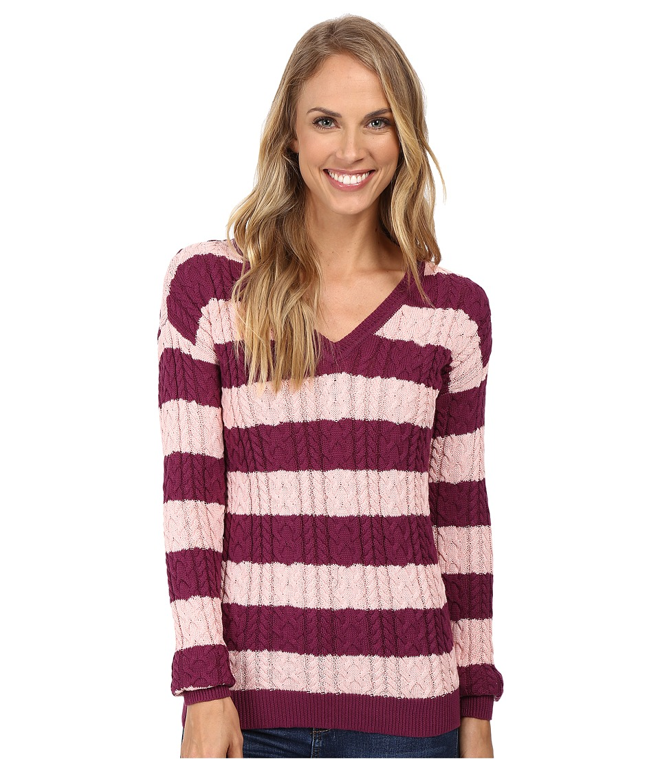U.S. POLO ASSN. - 7 Gage Stripe V-Neck Cable Knit Sweater (Merlot/Impatiens) Women's Sweater