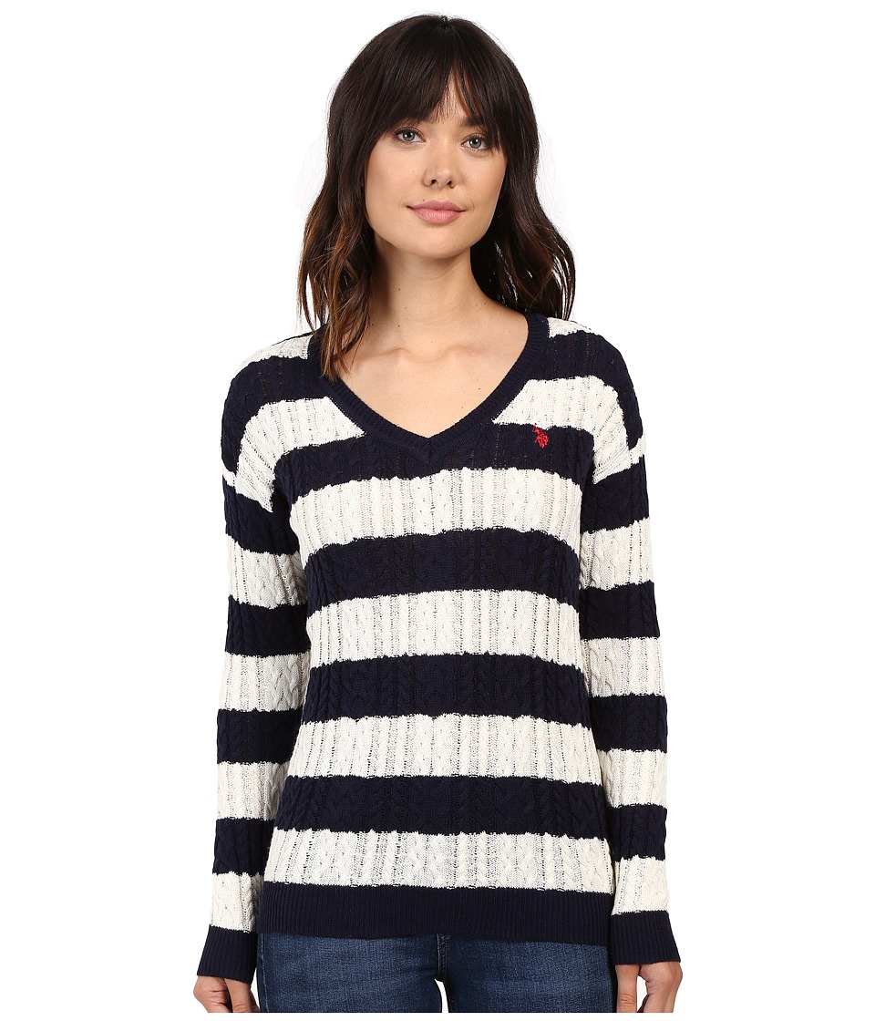 U.S. POLO ASSN. - 7 Gage Stripe V-Neck Cable Knit Sweater (Evening Blue/Marsh) Women's Sweater