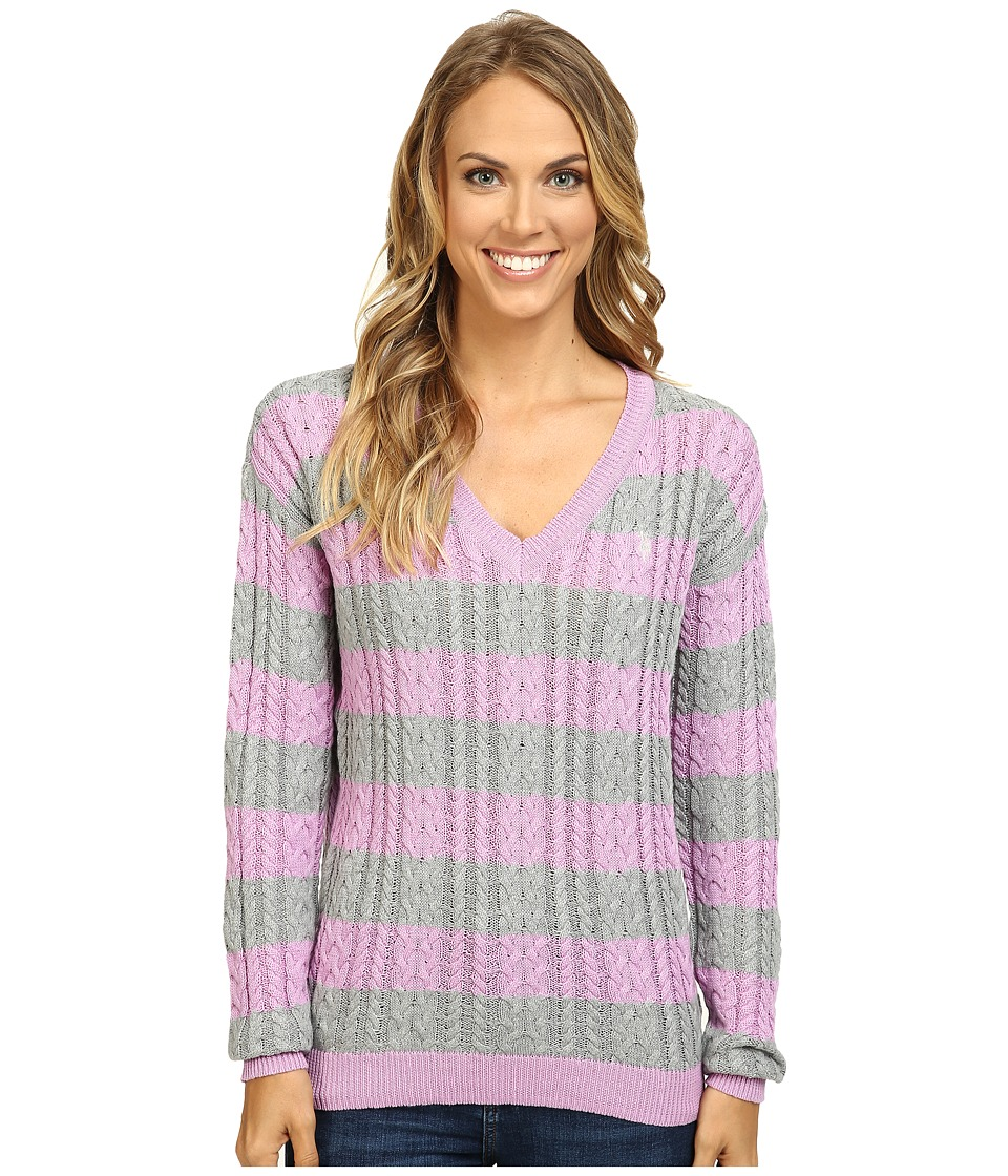 U.S. POLO ASSN. - 7 Gage Stripe V-Neck Cable Knit Sweater (Violet Tulle Combo) Women's Sweater